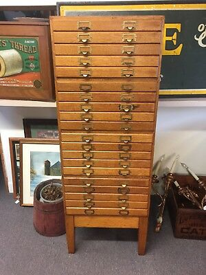 vintage oak.5 section  file cabinet with 20 drawers.