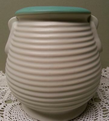 "COORS POTTERY VASE, Golden Colorado, Ribbed ""Honey Pot"" Style, 5"" High 1922-1933"
