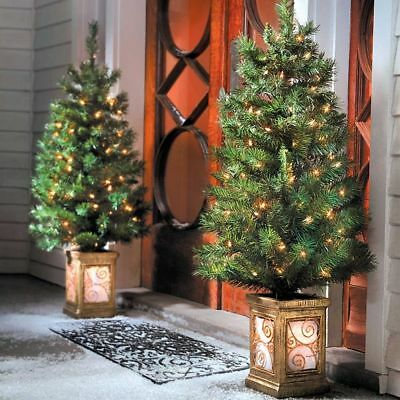 Set of 2 Pre Lit Porch Trees Indoor Outdoor Christmas Lighted Yard Decor 4 Foot