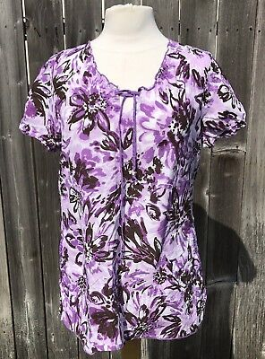Koi by Kathy Peterson Womens Scrub Top  Purple Floral Short Sleeve Sz Large W35