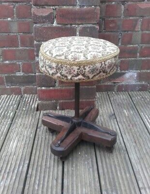 "vintage stool round cast iron and oak base vintage ""carpet bag"" upholstery cast"