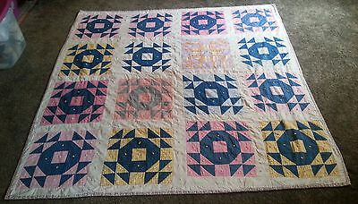 "Antique Handmade QUILT 1900s - Saw Tooth/Old Scraps Patchwork Pattern  66""x64"""