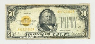 rare $50 Series 1928 Gold Certificate in circulated condition - no reserve