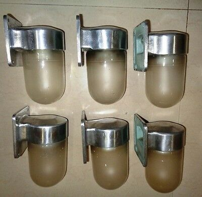 RARE VINTAGE MARINE ALUMINIUM Wall PASSAGE LIGHT with FROSTED Glass SET OF 4 PC