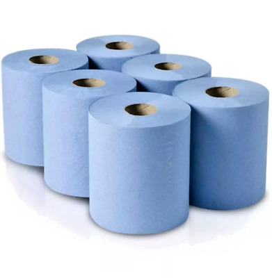 1-18 Rolls, 6-Pack-2-Ply-Blue-Embossed-Centre-Feed-Paper-Wipe-Rolls  150M