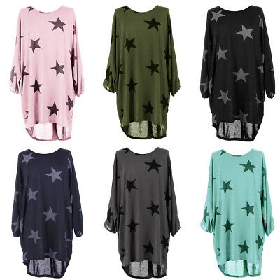 Womens Long Sleeve Stars Floral Oversized T-Shirt Ladies Loose Top Blouse Dress