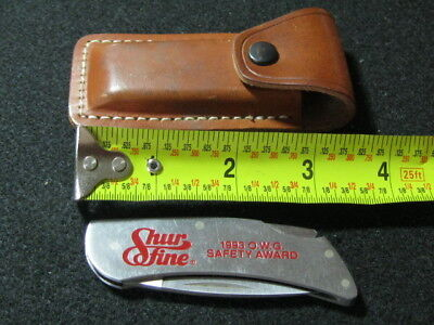 Zippo, Advertising, Locking Back Stainless Steel Knife w/ Leather Holster