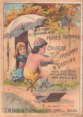 Victorian Trade Card-Hoyt's German Cologne-Lowell, MA-Weaverville, CA-Painting