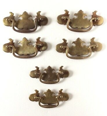 Vintage Antique Brass Dresser Drawer Pull Handle Lot Of 6 -Colonial Style