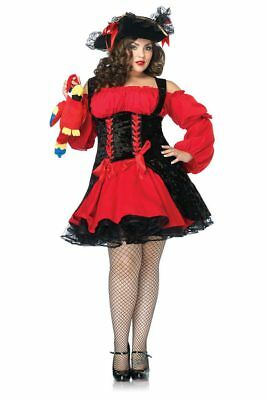 Womens Plus Size Sexy Vixen Pirate Wench Dress Roleplay Costume