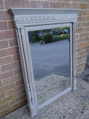 French Henri II style antique mirror painted in French Linen