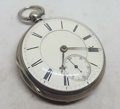 Antique solid silver gents fusee Chester pocket watch 1883 working