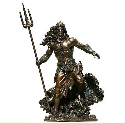 Poseidon Greek God of the Sea Neptune Figurine Statue Sculpture Bronze Finish 10