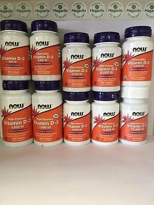 Now Foods Vitamin D3 - ALL Types and Sizes. Liquid/Softgels/Chewable. Free Ship!