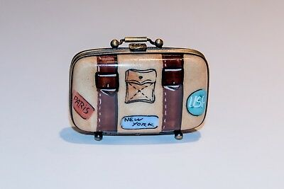 French Limoges Hand Painted Rochard Suitcase Box
