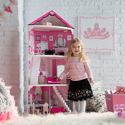 Barbie Size Corner Dollhouse Play House Furniture Wooden Dream Princess 4 Ft New