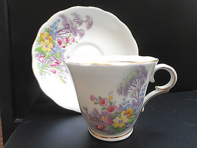 Colclough White Bone China,Teacup & Saucer Floral,Purple Pink Floral & in Canada