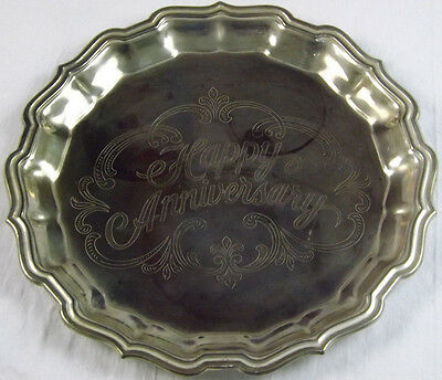 Stainless Steel Serving Commemorative Tray Engraved Floral Happy Anniversary