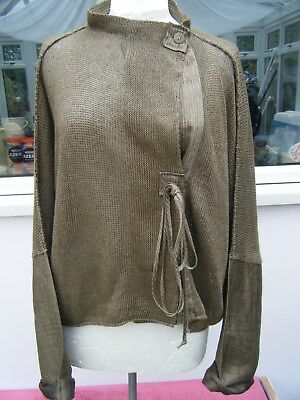 Crea Concept Quirky Bronze Gold Linen Knit Cardigan, Size Xl (16)
