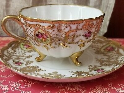 Vintage Demitasse Cup and Saucer Pink Roses Gold Trim