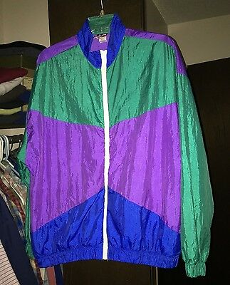 Vintage Womens 80s White Cactus-Wind Track Jacket-L-Purple/Green/blue