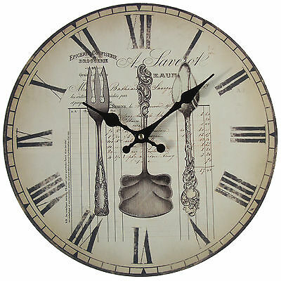 Vintage Country Shabby Cutlery Kitchen Wall Clock - NEW