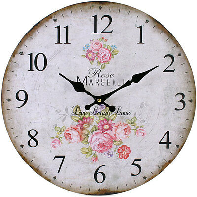 Vintage French Style Shabby Chic Floral Rose Wall Clock - NEW