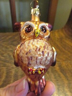 Blown Glass  Owl Christmas Ornament