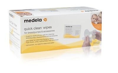 Medela - Quick Clean Wipes for Breastpumps & Accessories, 40 Packed Wipes/Box