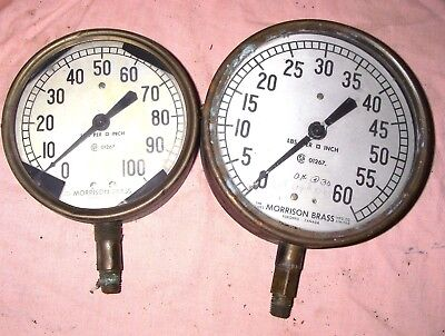Vintage 2 Steam Pressure Valve MORRISON BRASS Gauges, Steampunk Steam Punk Lot D