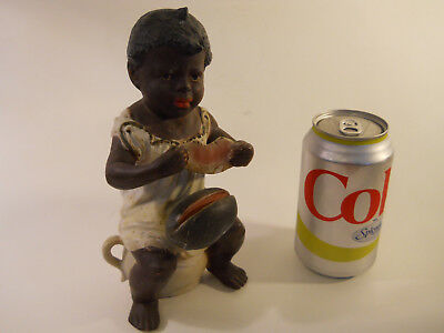 FINE Anitique BLACK BOY w/ POT Watermelon PORCELAIN FIGURE African American Race