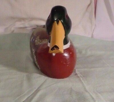 Vintage Solid Wood Carved Hand Painted Duck Decoy Glass Eyes  Use Collect #1
