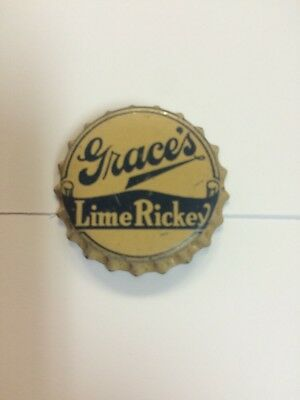 """VIntage """"Grace's Lime Rickey"""" Soda Bottle Cap New Old Stock Cork Lined. Rare!!"""