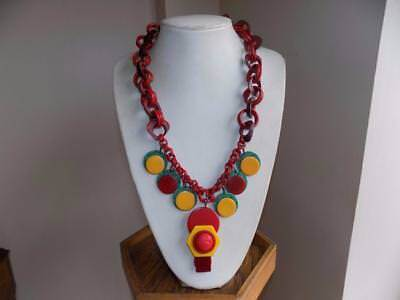 Art Deco Stunning Egyptian Revival Type Bakelite & Lucite Chained Necklace