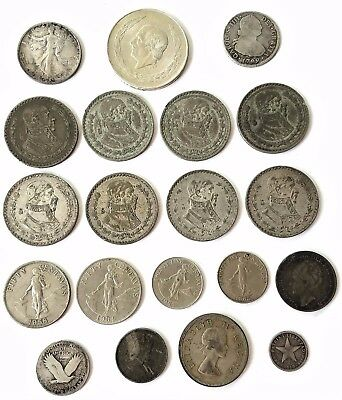 Mexican silver pesos and other silver coins: 5 pesos, Half Dollar, 2 reales