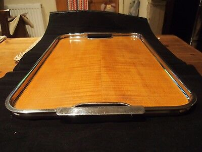 Art Deco Chrome And Wood Serving Tray