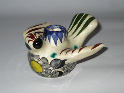"Tonala Mexico Bird Candle Holder Signed CAT 4"" Flower Gray Yellow Green Blue"