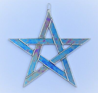 Stained Glass Pentagram five pointed star in cobalt blue iridescent glass