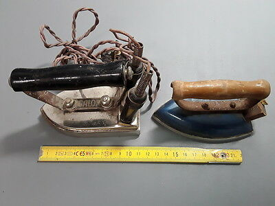 Lot 2 anciens petits fers à repasser CALOR vintage french antique smoothing iron