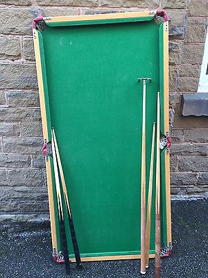 Vintage Table Top Snooker Table With cues And Balls