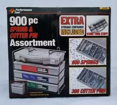 New SPRING AND COTTER PIN ASSORTMENT 900 Piece With Storage Container
