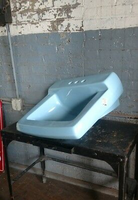 American Standard Blue Sink Mid Century Modern Modernist Bathroom Antique Vntg