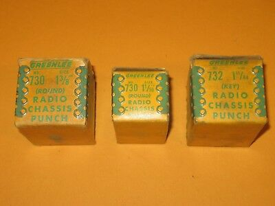 3 vintage GREENLEE RADIO CHASSIS PUNCHES -