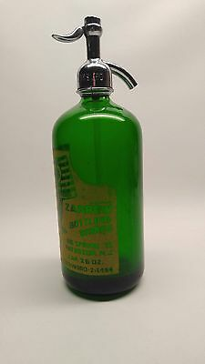 Vintage Seltzer Bottle Emerald Green Glass Zarrow Bottling Works  26 Oz. N.j.