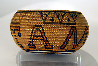 """S. CA Mission / Cahuilla Polychrome Basketry Bowl with Letters 7 1/2"""" x 4"""" c1910"""