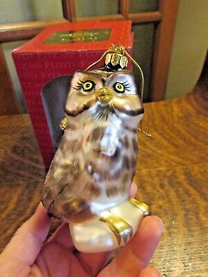 Fitz And Floyd Blown Glass Owl Christmas Ornament