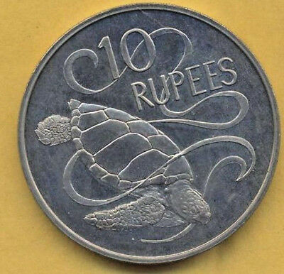 Very Nice 1974 Seychelles 10 Rupees.  Coin Appears To Be A Proof Strike.