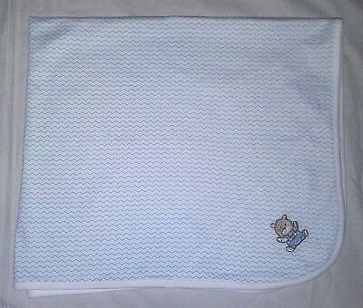NEW Baby Boy LITTLE ME Receiving Blanket Blue White Embroidered Bear NWOT