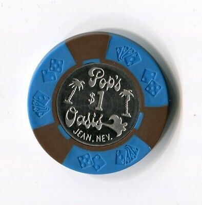 ++++++++ $$$ OLD 1970s POP'S OASIS $1 JEAN STATELINE NEVADA CIC COIN CENTER CHIP