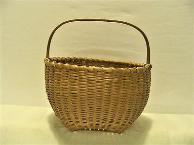 """SMALL 6 X 6 & 3.5"""" TALL ANTIQ. EARLY 1900s FINE WOVEN BASKET POSSIBLY NANTUCKET?"""